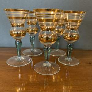 Set of Five 1930s Shot Liqueur Glasses