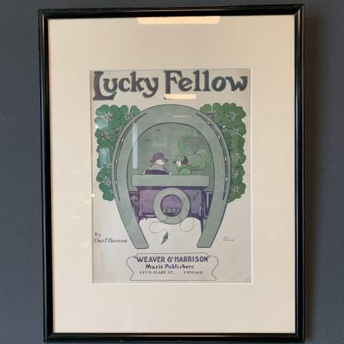 Original Framed Sheet Music Cover of Lucky Fellow image-1