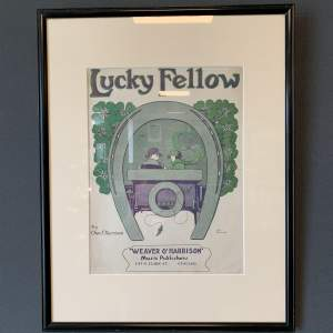 Original Framed Sheet Music Cover of Lucky Fellow