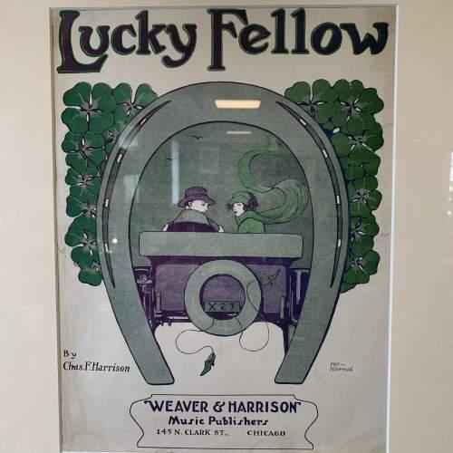 Original Framed Sheet Music Cover of Lucky Fellow image-2