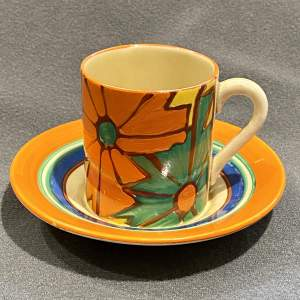 Clarice Cliff Umbrellas and Rain Pattern Coffee Can and Saucer