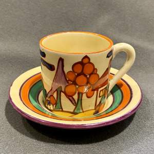 Clarice Cliff Tree and House Pattern Coffee Can and Saucer