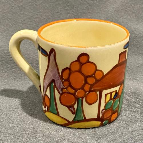 Clarice Cliff Tree and House Pattern Coffee Can and Saucer image-2