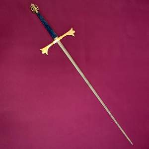 Large Gothic Victorian Ceremonial Hand and a Half Sword