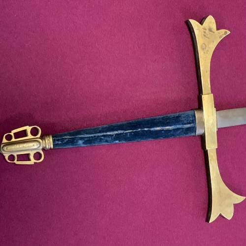 Large Gothic Victorian Ceremonial Hand and a Half Sword image-5