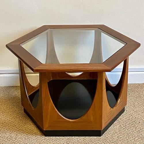 1960s G-Plan Glass Topped Hexagonal Teak Table image-1