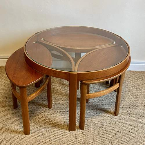 G-Plan Cicular Glass Topped Teak Nest of Tables image-1