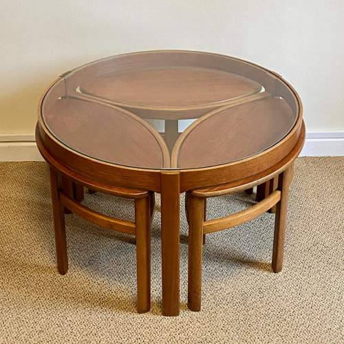 G-Plan Cicular Glass Topped Teak Nest of Tables image-2
