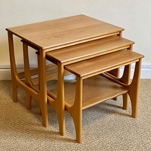 Mid 20th Century Nest Of Three Teak and Beech Tables image-1