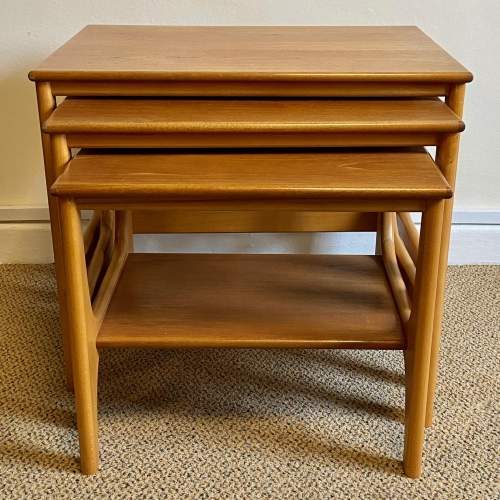 Mid 20th Century Nest Of Three Teak and Beech Tables image-2