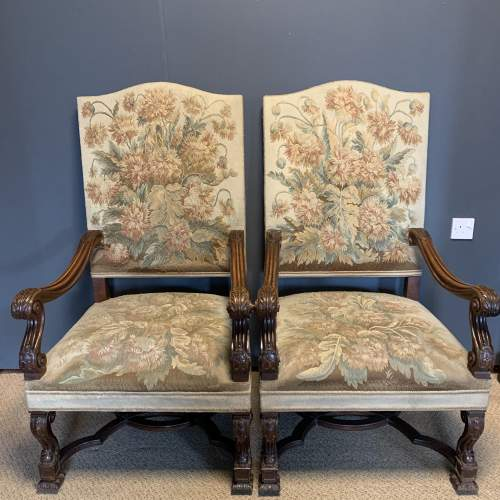 Pair of 19th Century Carved Walnut French Armchairs image-1