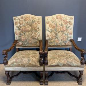 Pair of 19th Century Carved Walnut French Armchairs