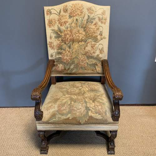 Pair of 19th Century Carved Walnut French Armchairs image-2