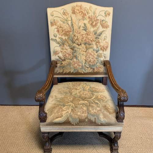 Pair of 19th Century Carved Walnut French Armchairs image-3