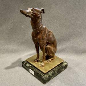 20th Century Bronze Seated Whippet or Greyhound after Barye