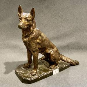 Quality A Laplanche Bronze of a Seated Alsatian