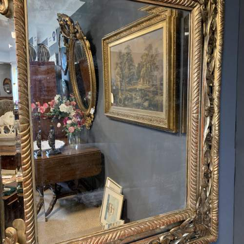 French Carved And Gilded Cushion Mirror image-2