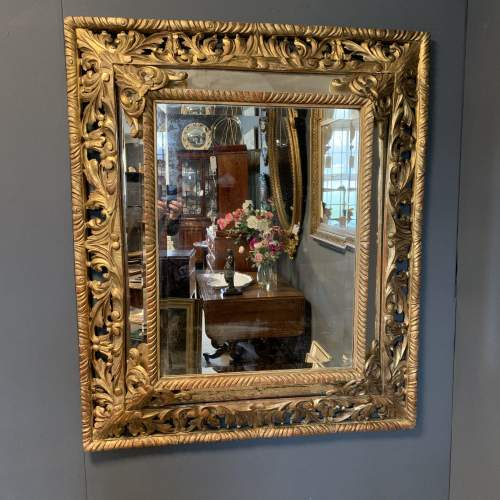 French Carved And Gilded Cushion Mirror image-1