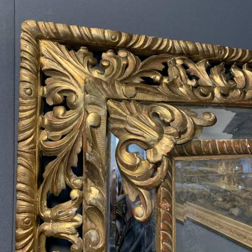 French Carved And Gilded Cushion Mirror image-3
