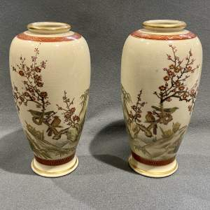 Fine Pair of Japanese Satsuma Vases with Birds among Blossom