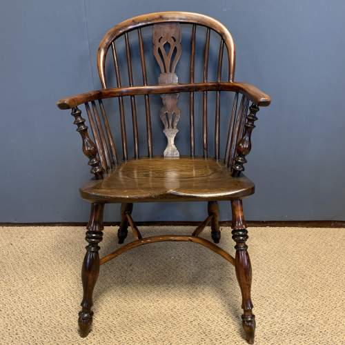 19th Century Low Back Yew Wood Windsor Chair image-2