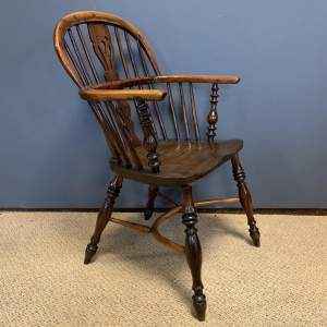 19th Century Low Back Yew Wood Windsor Chair