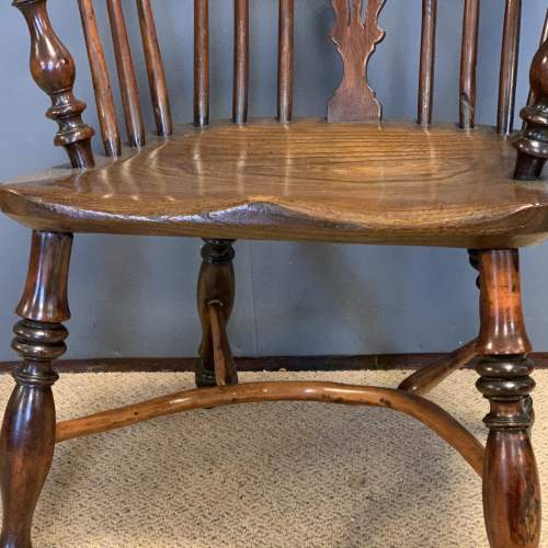 19th Century Low Back Yew Wood Windsor Chair image-5