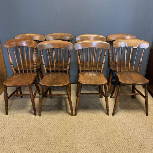 Set of 8 Lincolnshire 19th Century Ash & Elm Kitchen Chairs image-1