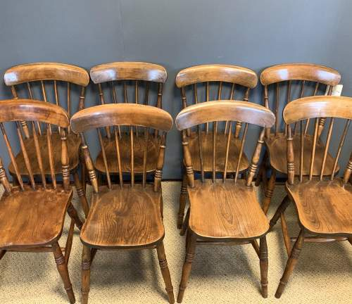 Set of 8 Lincolnshire 19th Century Ash & Elm Kitchen Chairs image-6