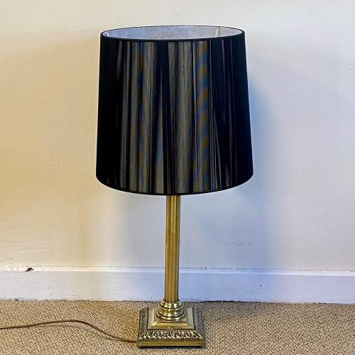 Heavy Brass Corinthian Column Table Lamp image-1