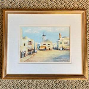 20th Century Watercolour Of a Town by N Clegg