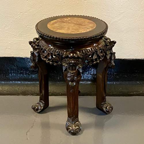 Early 20th Chinese Hardwood Jardiniere Stand image-1