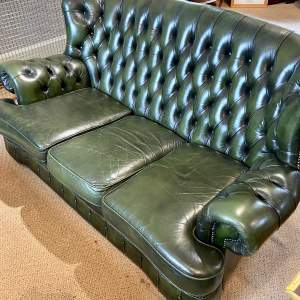 Vintage Three Seater Button Back Green Leather Sofa