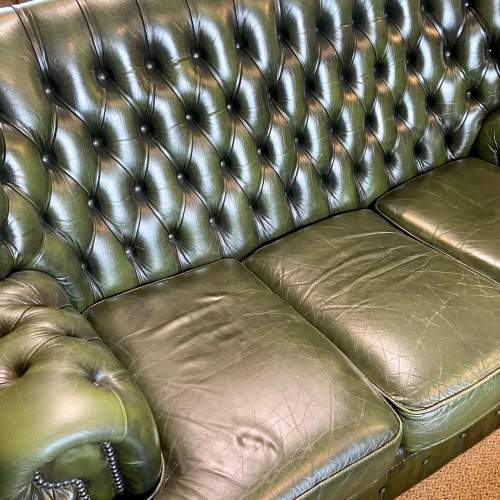 Vintage Three Seater Button Back Green Leather Sofa image-2