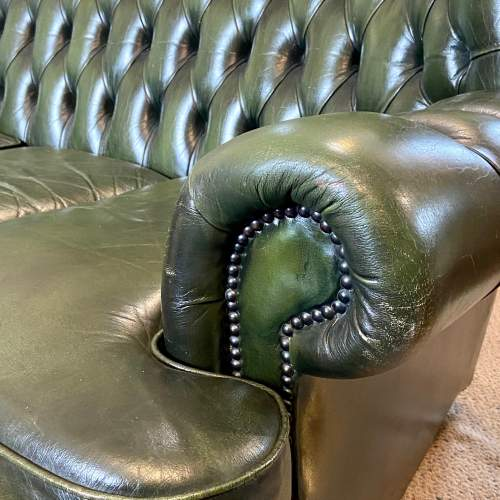 Vintage Three Seater Button Back Green Leather Sofa image-3