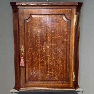 George III Oak Hanging Corner Cupboard