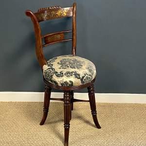Regency Period Adjustable Rosewood Harpists Chair