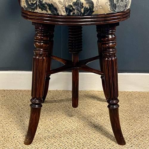 Regency Period Adjustable Rosewood Harpists Chair image-6