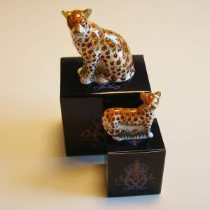 Crown Derby Leopard and Cub