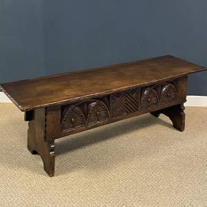 Late 19th Century Small Carved Oak Coffer