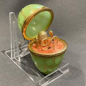 19th Century Green Opaline Sewing Set