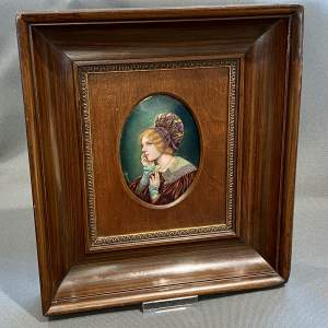 French Limoges Framed Oval Enamel Portrait of a Lady