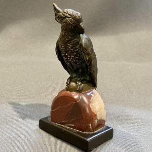 Bronze Parrot on a Marble Base
