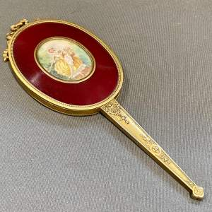 19th Century French Gilt Hand Mirror with Oval Miniature