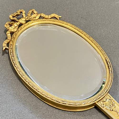 19th Century French Gilt Hand Mirror with Oval Miniature image-2