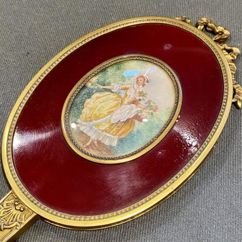 19th Century French Gilt Hand Mirror with Oval Miniature image-3