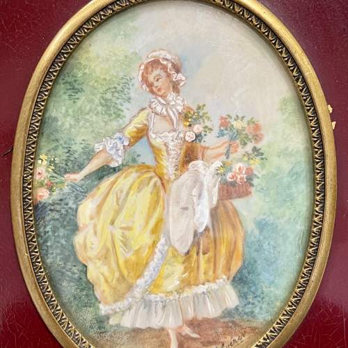 19th Century French Gilt Hand Mirror with Oval Miniature image-4