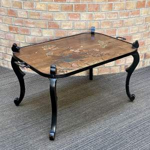 Early 20th Century Coffee Table with Decorative Carved Top