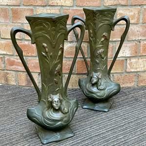Pair of Art Nouveau Spelter Vases