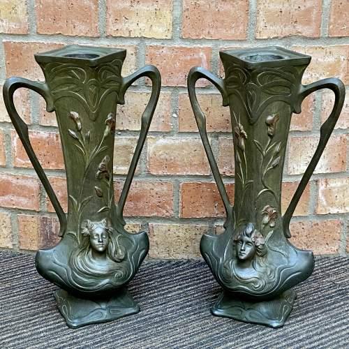 Pair of Art Nouveau Spelter Vases image-4